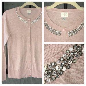 A New Day pink cardigan with rhinestone neckline